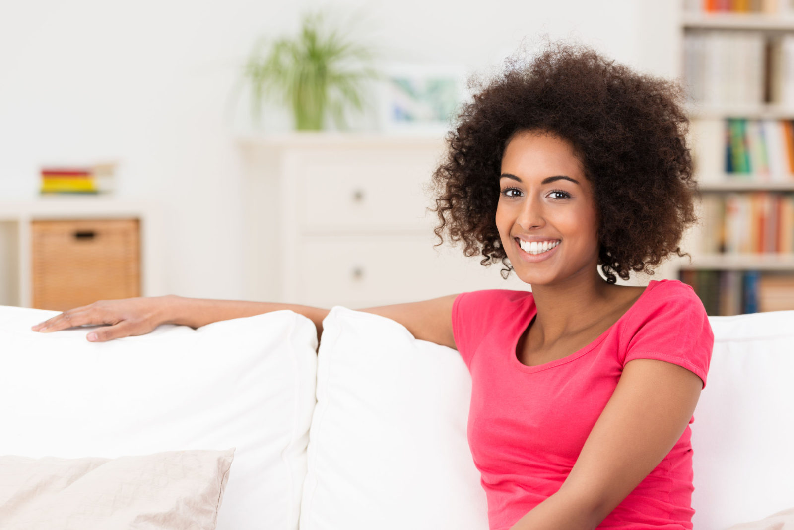 woman relaxing on a clean couch